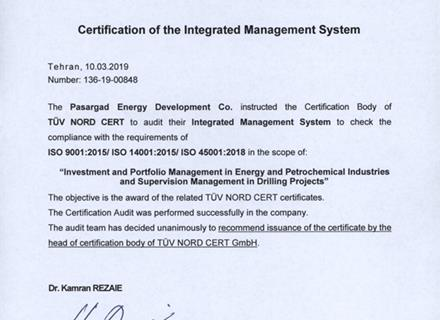 Thanks to our colleagues for obtaining management system certification based on ISO 45001: 2018, ISO 9001: 2015 and ISO 14001: 2015.