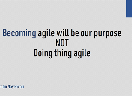 Becoming agile will be our purpose not doing thing agile
