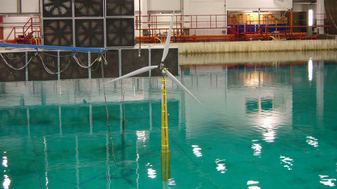 Photo of wind turbine testing at Sintef Testing of the Hywind concept at SINTEF in 2005.